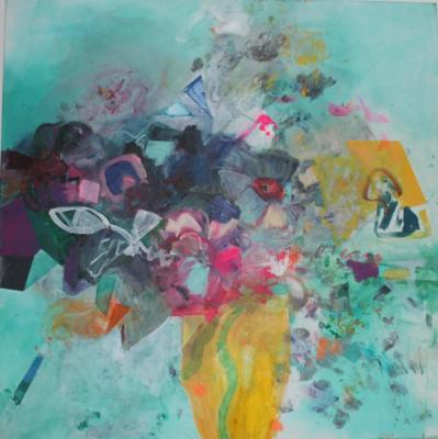 Flowers - Acryl auf Leinwand 80x80  - Malerei Carola Malter
