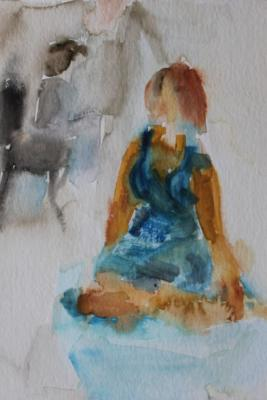 in Blau -Aquarell 24x30  - Malerei Carola Malter