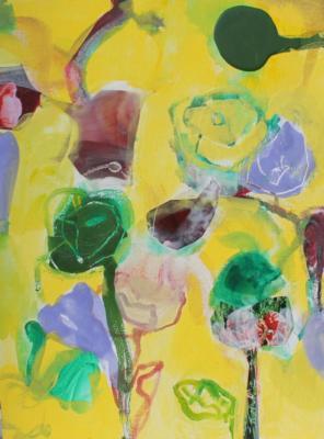 Flowers - Acryl und Encaustic auf Leinwand 40x30 - Malerei Carola Malter