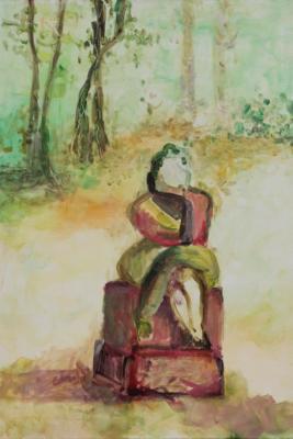 die Sinnende - acryl auf Leinwand 60x50 - Malerei Carola Malter