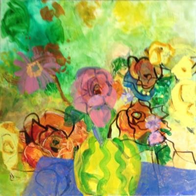 gelbe Vase - Acry und Encaustic auf Leinwand 60x60 - Malerei Carola Malter