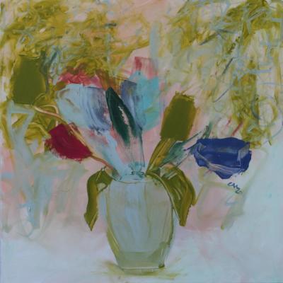 wo ist die gelbe Tulpe - Acryl auf Leinwand 60x60 - Malerei Carola Malter