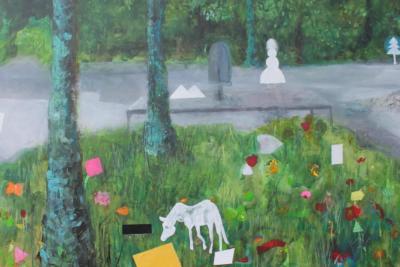 Bauer deckt Pferd - Acryl auf Leinwand 90x60 - Malerei Carola Malter