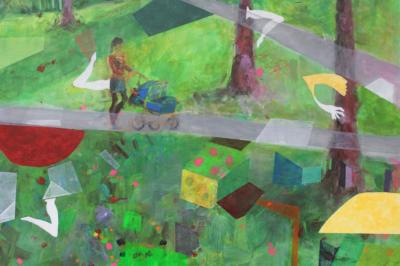 Manchmal im Park - Acryl auf Leinwand 80x60 - Malerei Carola Malter
