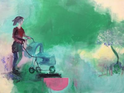Wer ist das Baby - Acryl auf Leinwand 80x60 - Malerei Carola Malter