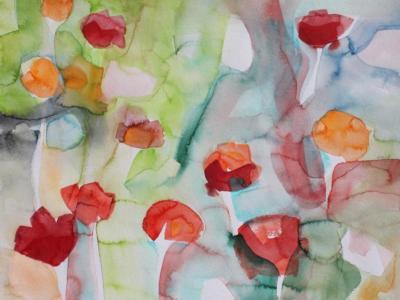 Der Mohn stellt sich auf - Aquarell 50x40 - Malerei Carola Malter