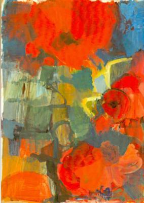 Fettes Rot - Acryl auf Papier 80x60 - Malerei Carola Malter