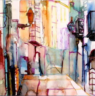 Palma 1 - Aquarell 30x30 - Malerei Carola Malter