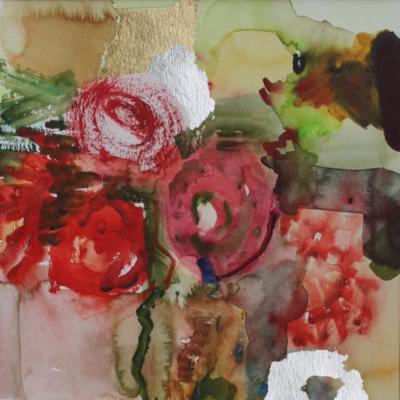 Rosenhochzeit - Aquarell und Schlagmetall 30x30 - Malerei Carola Malter