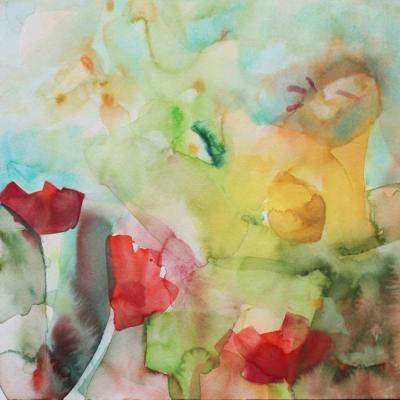 Träumerei im Mohn - Aquarell 30x30 - Malerei Carola Malter