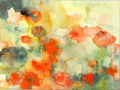 ich verlier mich im Mohn - Aquarell 40x50 - Malerei Carola Malter