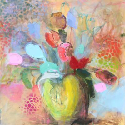 rote Tulpe - Acryl und Lack auf Leinwand 60x60 - Malerei Carola Malter