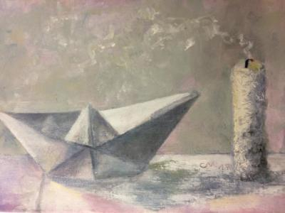 Dampfschiff - Öl auf Leinwand 24x30 - Malerei Carola Malter