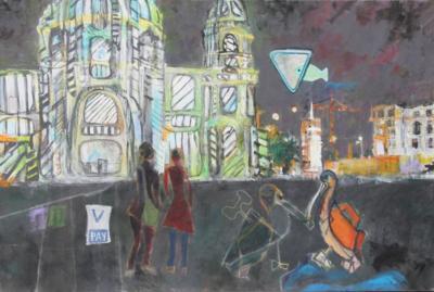 Treffen am Dom Acryl auf Leinwand 80x60 - Malerei Carola Malter