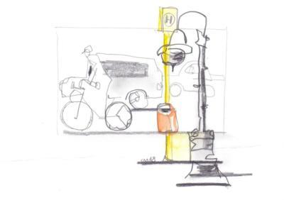 Radweg endlich- Zeichnung Carola Malter