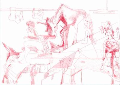 Rot in Gesellschaft- Malerei Carola Malter