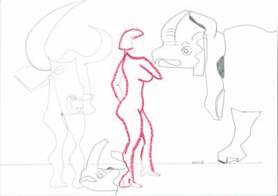 Treffen mit Rot- Zeichnung Carola Malter